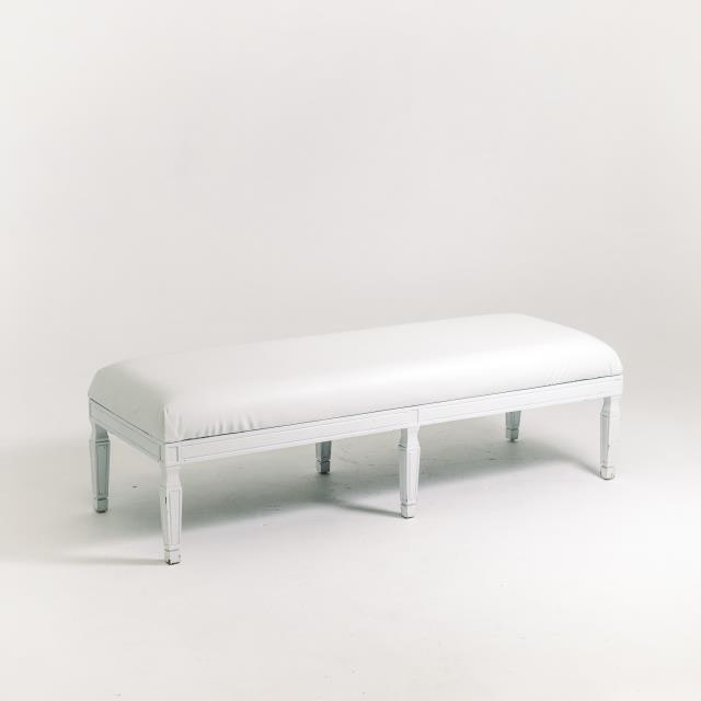 Where to find 6 LEG BENCH, WHITE FRAME, WHITE CUSHION in Orange County