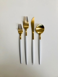 Rental store for GOLD WHITE FLATWARE in Orange County CA