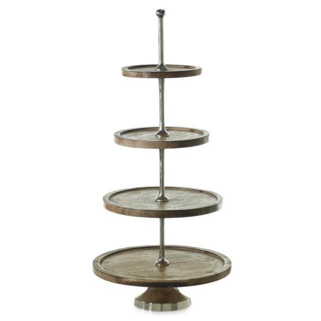 Where to find 4 TIER WOOD SILVER STAND in Orange County