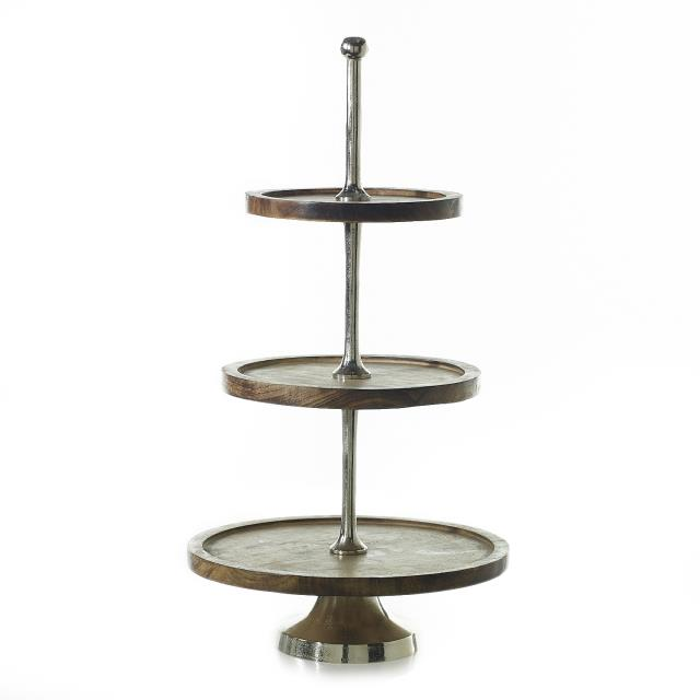 Where to find 3 TIER WOOD SILVER STAND in Orange County