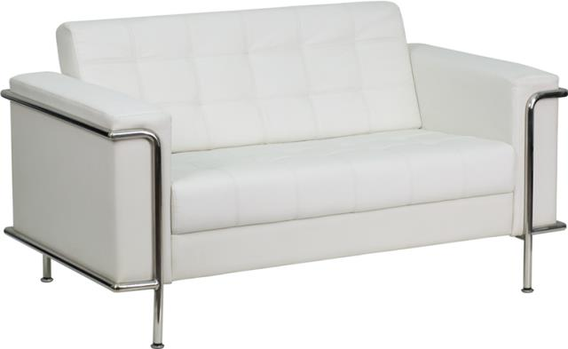 Where to find WHITE LEATHER LOVESEAT W  CHROME in Orange County