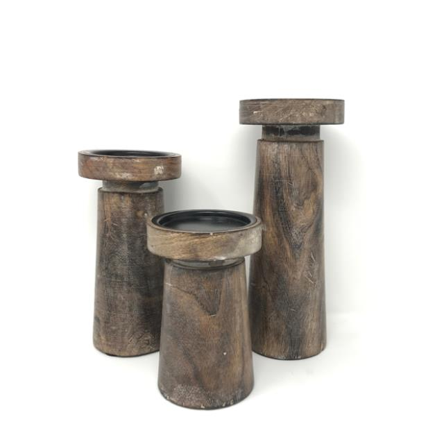 Where to find WOOD METAL CANDLE HOLDERS, SHORT SET 3 in Orange County