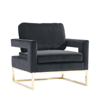 Rental store for VELVET NOIR ARM CHAIR, BLACK GOLD DETAIL in Orange County CA