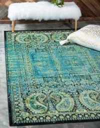 Rental store for TURQUOISE   BLACK RUG, 5  X 8 in Orange County CA