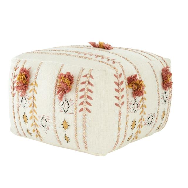 Where to find CAMILLA EMBROIDERED POUF, CREAM in Orange County